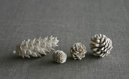 Ceramic pinecones